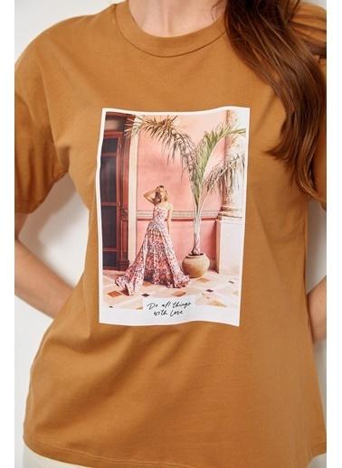 Setre Lila Kısa Kol Baskılı T-Shirt Kahve